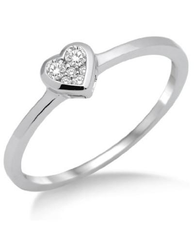 Damen-Ring 925 Sterling Silber Herz mit Brillanten 0.11ct