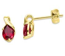 Miore Damen-Ohrstecker 375 Gelbgold Rubin rot Tropfenschliff