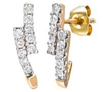 Damen-Ohrhänger 9 Karat Kreolen 375 Gelbgold teilrhodiniert Diamant 0,33 ct weiß Rundschliff PE03279Y