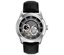 Automatic 96A135 - Herren Designer-Automatikuhr - Armband aus Leder - schwarzes Zifferblatt