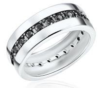 Damen-Ring 925 Sterling Silber Zirkonia schwarz - Moderner Silberring in Memoire-Form mit Steinen 60800107