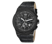 Collection Herren-Armbanduhr Chronograph Quarz Leder EL101811F04