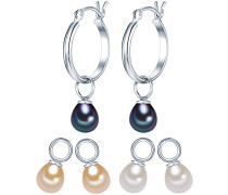 Valero Pearls Classic Collection Damen-Creolen Hochwertige Süßwasser-Zuchtperlen in ca.  5-6 mm Tropfenform weiß / apricot / pfauenblau 925 Sterling Silber       60840012