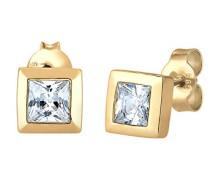 Premium Damen-Ohrstecker Viereck 585 Gelbgold Zirkonia gold Prinzess - 0308481516