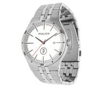 Polizei Eisen Herren Quarz-Armbanduhr mit Silber Zifferblatt Analog-Anzeige und Silber Edelstahl Armband 14440js/04M