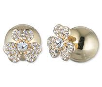 Metall goldfarbene Doppel Ohrstecker mit einer Front-Rückseite Blume mit Kristall Steinen