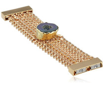 , Armband im Manschetten-Stil, 24ct Rosé-Vergoldet, gefärbter Druse-Stein, Mara-Kette, 19cm