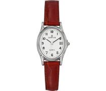–644523Damen-Armbanduhr–Quarz Analog–Weißes Ziffernblatt–Armband Leder braun