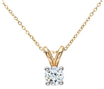 Damen-Anhänger 9 K runder + 46 cm Kette 375 Gelbgold teilrhodiniert Diamant (0,33 ct) weiß rundschliff PP02031Y