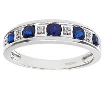 Brilliant rund 9 Karat, Saphir und Diamant Ring,