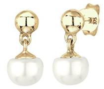 Premium Damen-Ohrstecker Perlenohrhänger Klassiker 375 Gelbgold Süßwasserzuchtperle Weiß - 0309120414