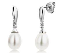 Ohrringe  375 Weißgold mit 2 Brillanten 0,02ct und Perlen