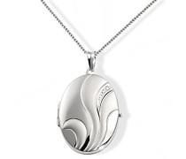 Damen-Halskette 925 Sterling Silber Medallion Blume 45 cm zum Öffnen für Bilder