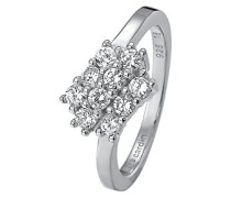 Damen-Ring 925 Sterling Silber rhodiniert Glas Zirkonia L'Éclair weiß