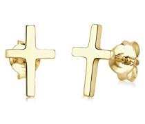 Premium Damen-Ohrstecker Kreuz Klassiker 375 Gelbgold - 0309130214