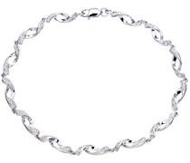 Damen-Armband 375 Weißgold Diamant 0,05 ct weiß Rundschliff 1,85 cm PBC02563W