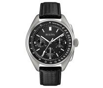 Moonwatch 96B251 - Herren Designer-Armbanduhr - Armband aus Leder - Schwarz