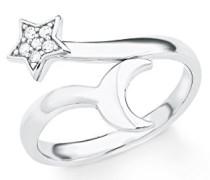 Damen-Ring Mond und Stern 925 Silber rhodiniert Zirkonia weiß