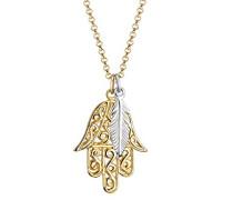 Halskette Bi-Color Hamsa Hand Feder Boho Silber vergoldet 0109311216
