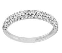 Damen-Ring 375 Weißgold 9 K Rundschliff weiß Oxyde de Zirconium
