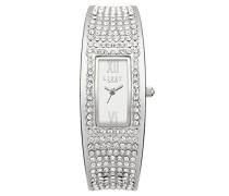 Damen-Armbanduhr, analog, Quarz, silberfarbenes Zifferblatt und Armband aus Silberlegierung, LP119