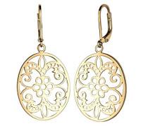 Damen Schmuck Ohrringe Ohrhänger Orientalisch Floral Romantisch Cut Out Silber 925 Vergoldet