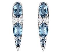 -  18 k (750)  Weißgold Ovalschliff   blau Topaze Diamant