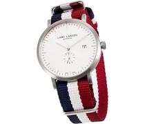 Sebastian Herren Quarz-Uhr mit weißem Zifferblatt Analog-Anzeige und Stoff-Gurt 131SWAN