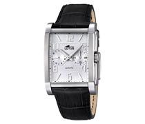 Lotus Herren Quarz-Uhr mit weißem Zifferblatt Analog-Anzeige und schwarz Lederband 18221/1