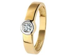 Damen-Ring 9 Karat (375) Bicolor Zirkonia wei