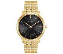 Ultra Slim 97A127 - Herren Designer-Armbanduhr - Armband aus Edelstahl - Goldfarben mit schwarzem Zifferblatt