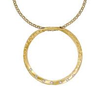 Eternal Anhänger in Form eines großen Kreises, 9Karat Gelbgold mit Diamanten, Kettenlänge 46cm