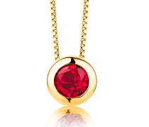 Damen-Kette Mit Anhänger 925 Sterling- Silber Rundschliff Rot Synthetischer Rubin 45cm, gold(Synthetischer Rubin)