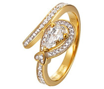 Damen-Ring 925 Sterling Silber rhodiniert Glas Zirkonia L'Esthétisme Unique weiß