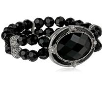 Silber, Kristall und die schwarz Oval facettiert Armband mit Kristallkugel, 17 cm