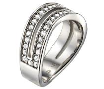 Damen-Ring 925 Sterling Silber rhodiniert Kristall Zirkonia Empreinte D'argent weiß