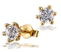 Solitär Damen-Ohrstecker 6er Stotzen 750 Gold 2 Brillanten Lupenrein weiß 1,00 ct. Inklusive externer Expertisen