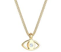 Damen Kette mit Anhänger Evil Eye 925 Sterling Silber vergoldet Swarovski Kristall weiß Brillantschliff 40 cm 0109130115_40