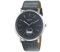 Regent Herren-Armbanduhr XL Analog Quarz Leder 11110696