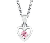 Kinder-Halskette mit Anhänger Herz längenverstellbar 925 Silber Sterling Zirkonia rosa