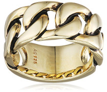 Herren-Ring mit Panzerketten Optik 925 Silber gelb vergoldet und schwarz lackiert