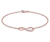 Damen Schmuck Armband Gliederarmband Infinity  Unendlichkeit Liebe Freundschaft Forever Liebesbeweis Silber 925 Rosé Vergoldet Zirkonia Gold Länge 18 cm