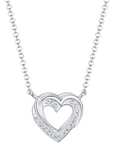 Premium Damen-Kette mit Anhänger Herz 925 Silber rhodiniert Swarovski Kristalle weiß Facettenschliff 45 cm 0101161317_45