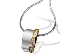 Damen-Kette mit Anhänger 585 Gelbgold und 925 Sterlingsilber 7 Diamanten Brillanten Schmuck Diamantkette