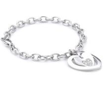 Damen-Armband Sogno Edelstahl mit weißen Kristallen SUI03