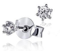 Damen-Ohrstecker 585 Weißgold 2 Diamanten 0,10ct Ohrringe Brillanten Schmuck
