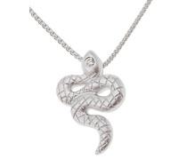 Damen Halskette 925 Sterling Silber rhodiniert mattiert Zirkonia