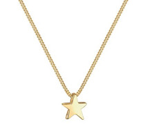 Damen Schmuck Echtschmuck Halskette Kette Anhänger Sterne Astro Sterling Silber 925 Vergoldet Länge 45 cm