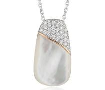Damen Halskette 925 Sterling Silber Perlmutt Zirkonia Lily 48.0 cm weiß JPNL90684A420