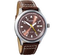 Herren Armbanduhr Quarzuhrwerk mit Braun Zifferblatt Analog-Anzeige und braunem Lederband 3882.27